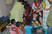 Kaushiki Chakraborty interacts with children
