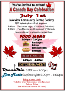 Lakeview Community Centre Canada Day Celebration Poster