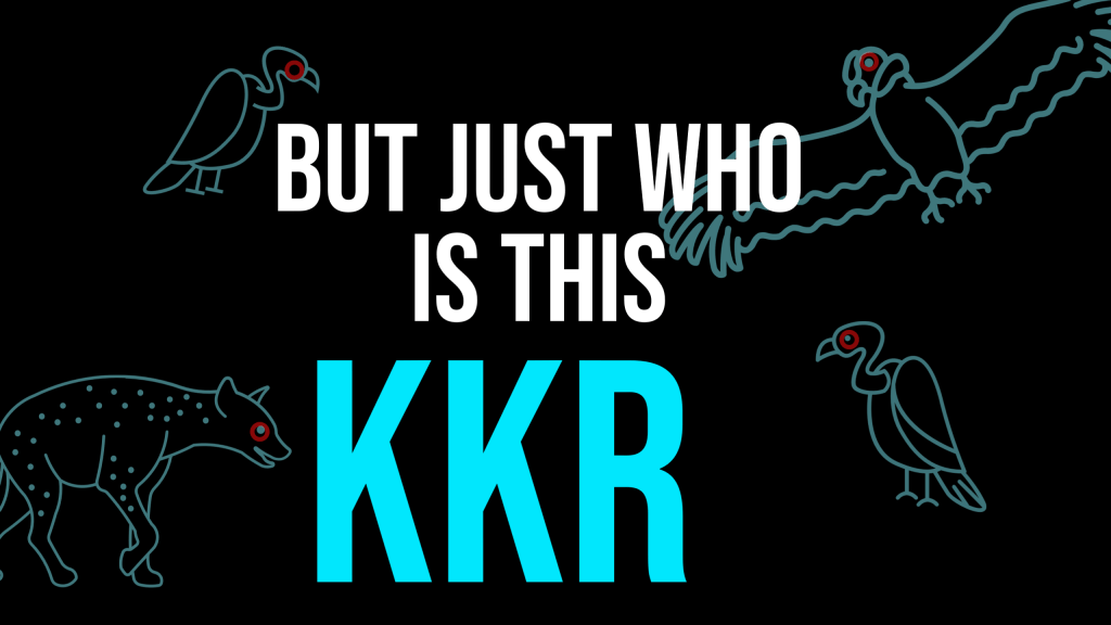 On a black background, the words 'But just who is this KKR'' in white and turquoise block letters. In the background, there are turquoise silhouettes of assorted birds.