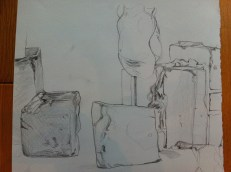 Drawing from first lesson - took THREE HOURS!! Do you know what's going on? (Some bricks and a bust).