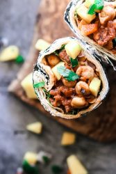 A simple, under 30 minutes vegan burrito made with chickpeas and mango salsa.