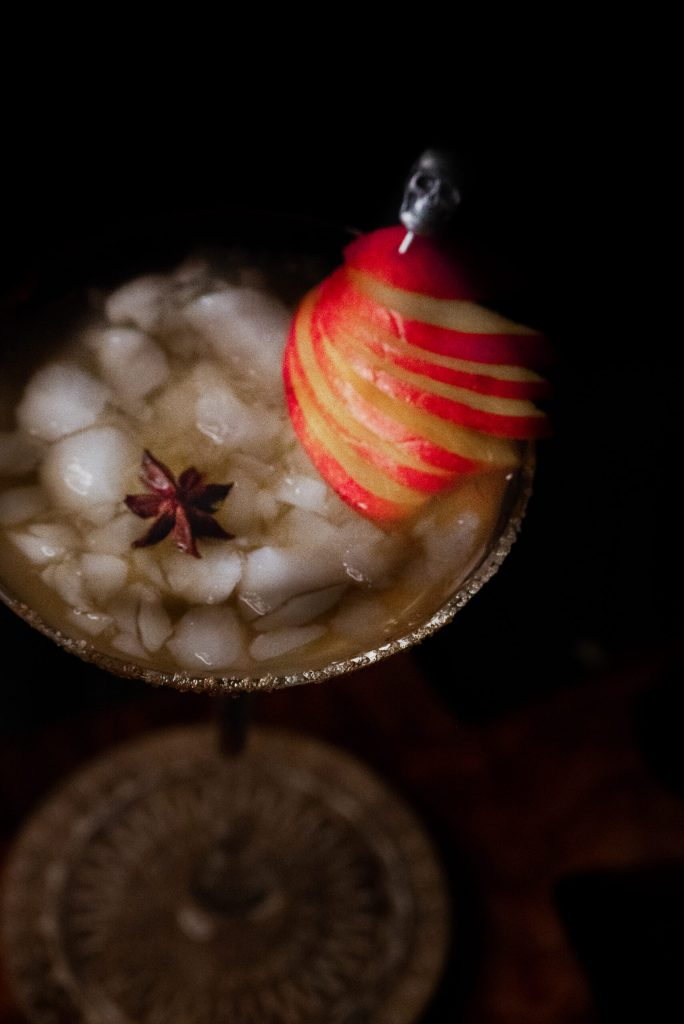 Crushed Ice apple martini with a star anise garnish