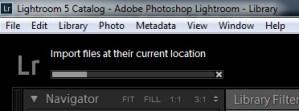 Adobe Lightroom Import Progress Bar