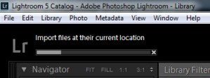 Adobe Lightroom Import Progress Bar