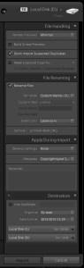 Adobe Lightroom Import Settings Panel