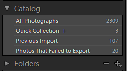Lightroom Library Catalog Panel