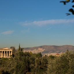 Temple of Hephaistos far away