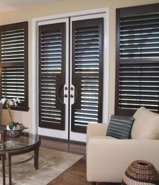 Full Height Windows With Dark Wooden Shutters