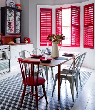 Red Full Height Shutters in Kitchen Open - Hybrawood