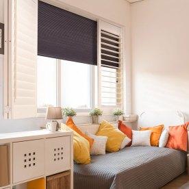 room darkening shutters and shade