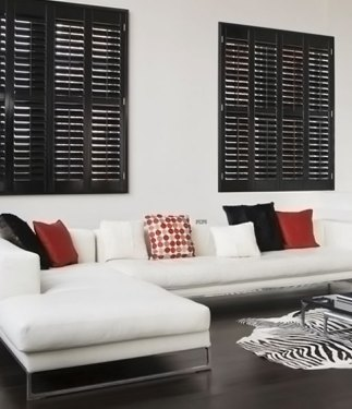Black Wooden Teak Interior Shutters
