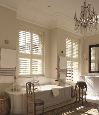 Waterproof Bathroom Shutters in Cream Finish