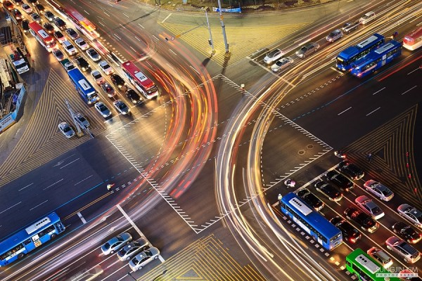 busy traffic at night