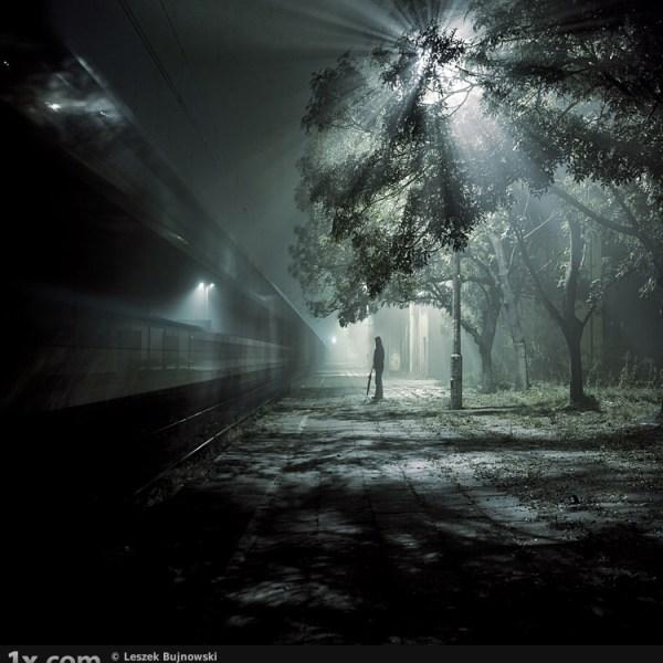 Train and light burst