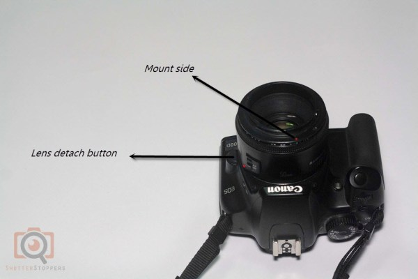 Reverse lens attached to front element of 50mm lens