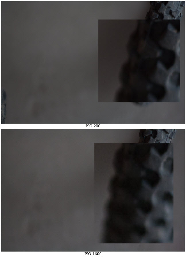 Image noise comparison of photos taken at low and high ISOs