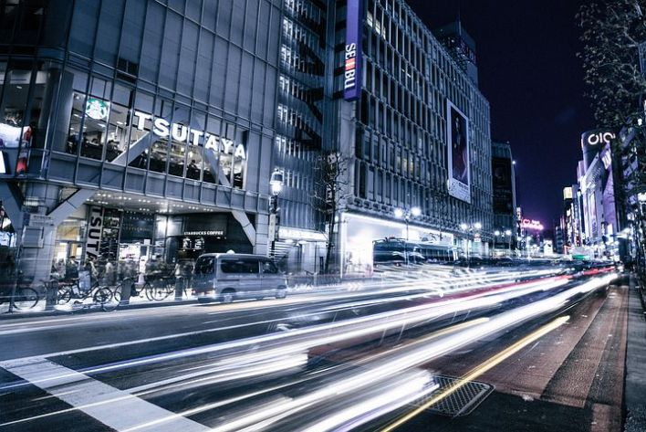 City scape light trail night photography