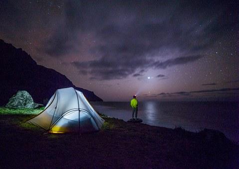 Camping at night — Night photography