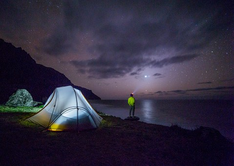Camping at night — Night photography