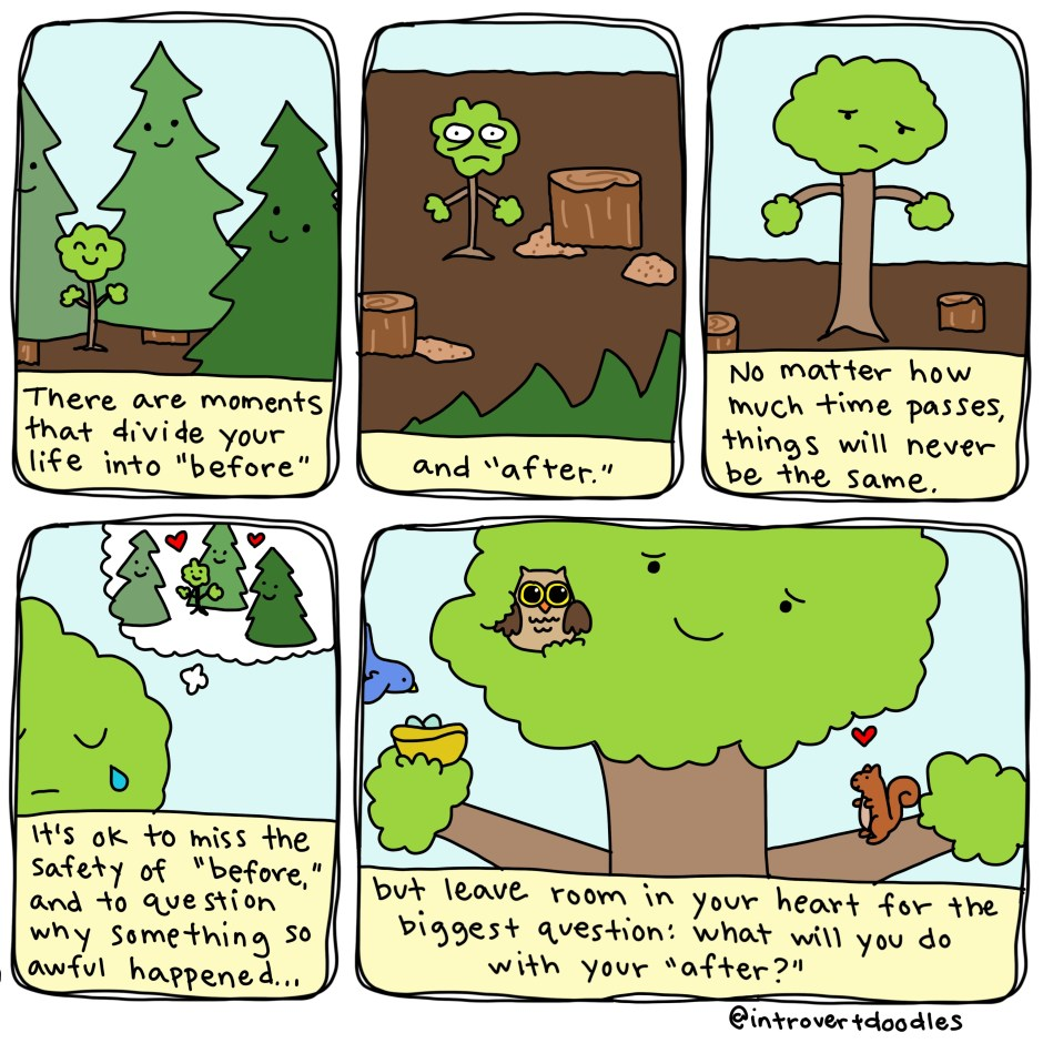 before and after, a tree story by marzi, introvertdoodles