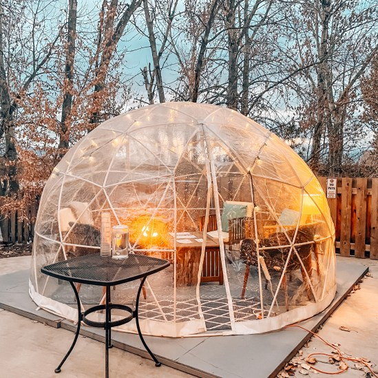 instagrammable missoula - highlander brewing co patio igloo