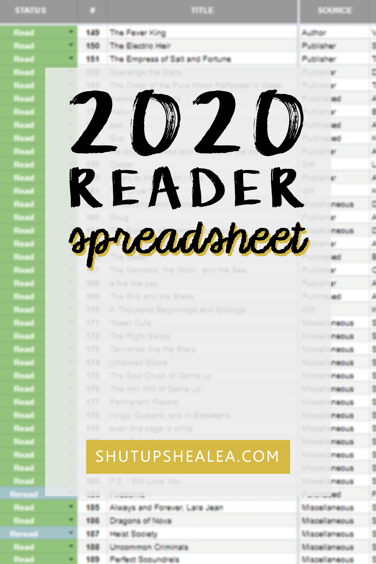 2020 Must-Have Reader Spreadsheet Template