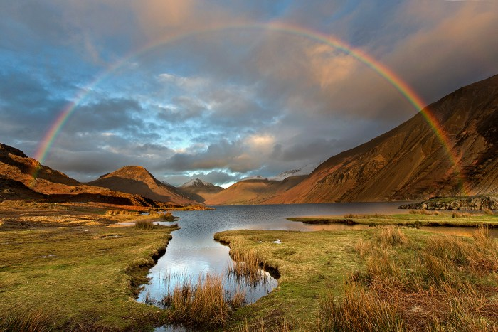Rainbow at sunset over Wasdale Head