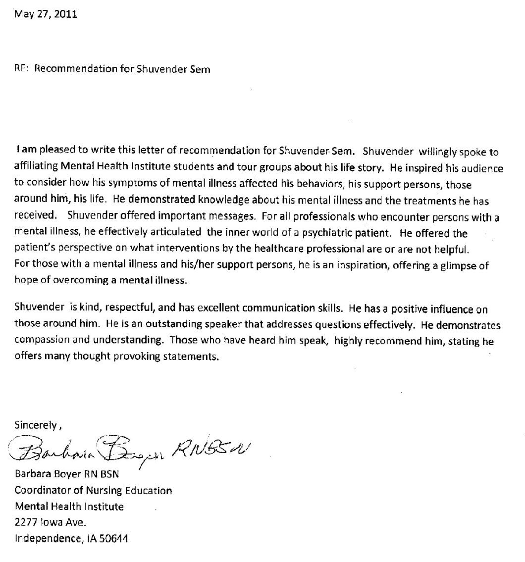 sample letter of recommendation for nursing graduate school from