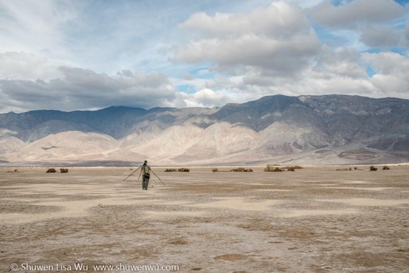 Photographer at Clark Dry Lake, Anza Borrego Desert State Park, CA.