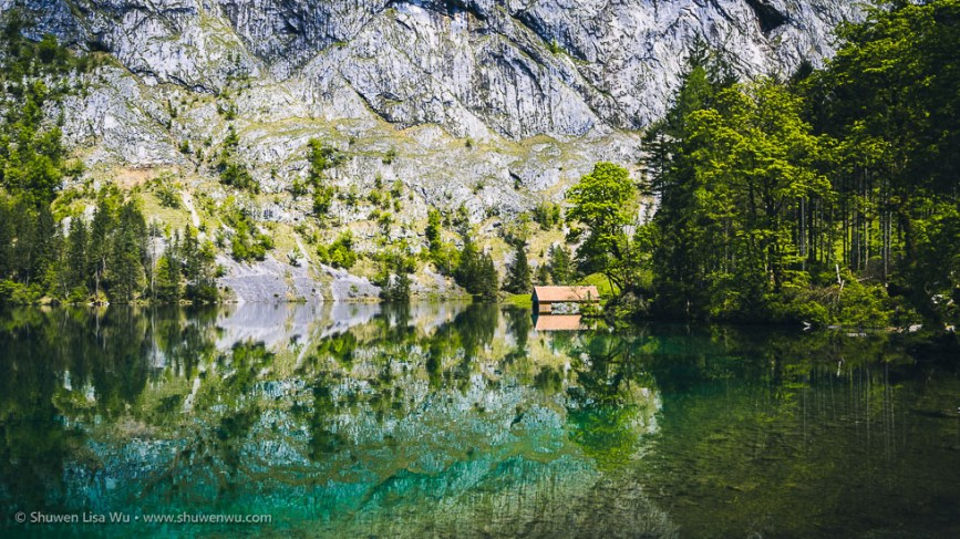 Boathouse at Obersee, Nationalpark Berchtesgaden, Bavaria, Germany.