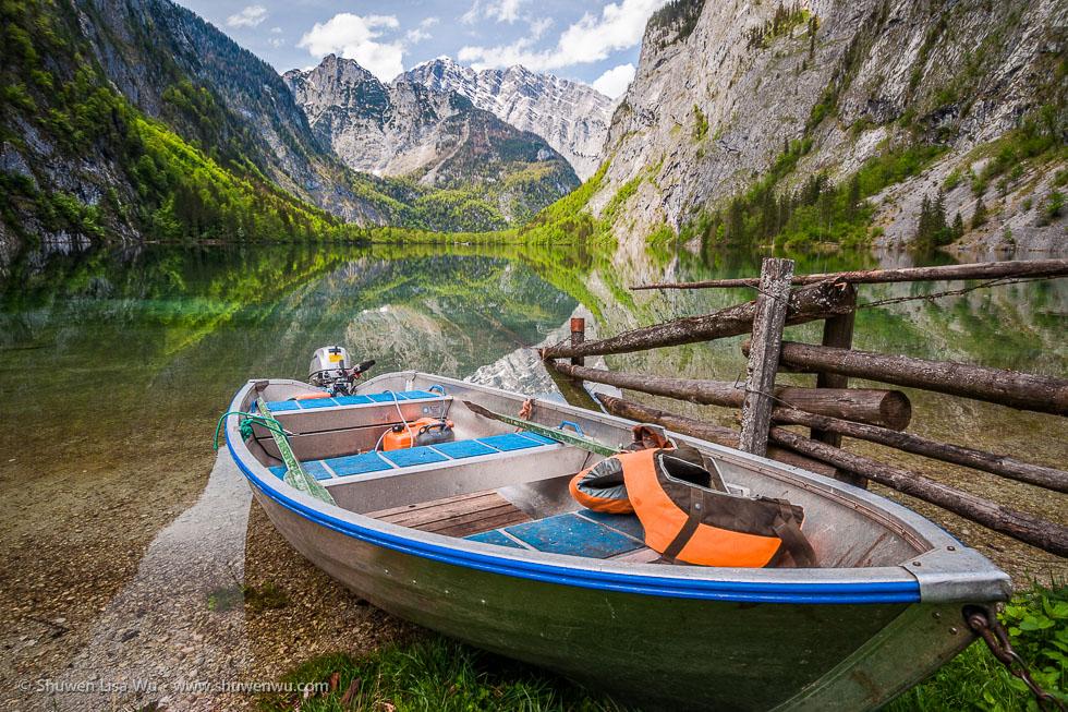 Small Boat at Obersee, Nationalpark Berchtesgaden, Bavaria, Germany.