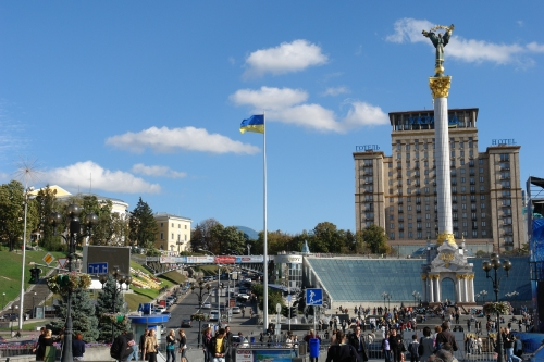 A view of the place where the House of Ginzburg stood: Independence Square (Majdan Nezaleghnosti), September of 2012