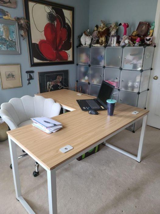 Shw Home Office 55 X60 Large L Shaped Corner Desk : office, large, shaped, corner, Shaped, Office, 55″x60″, Large, Corner, Espresso, Black, Cherry, Desks, Standing, Electric, Height, Adjustable, Computer