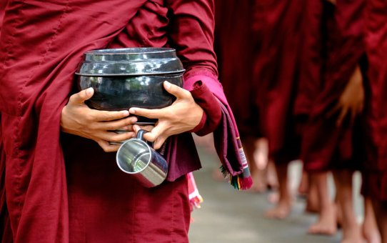 burmese monks no meal after noon