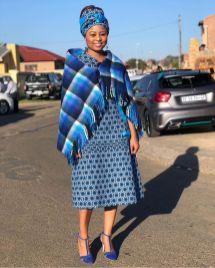 Trendy African Traditional Shweshwe Dress 2021 (1)
