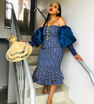 Trendy African Traditional Shweshwe Dress 2021 (12)