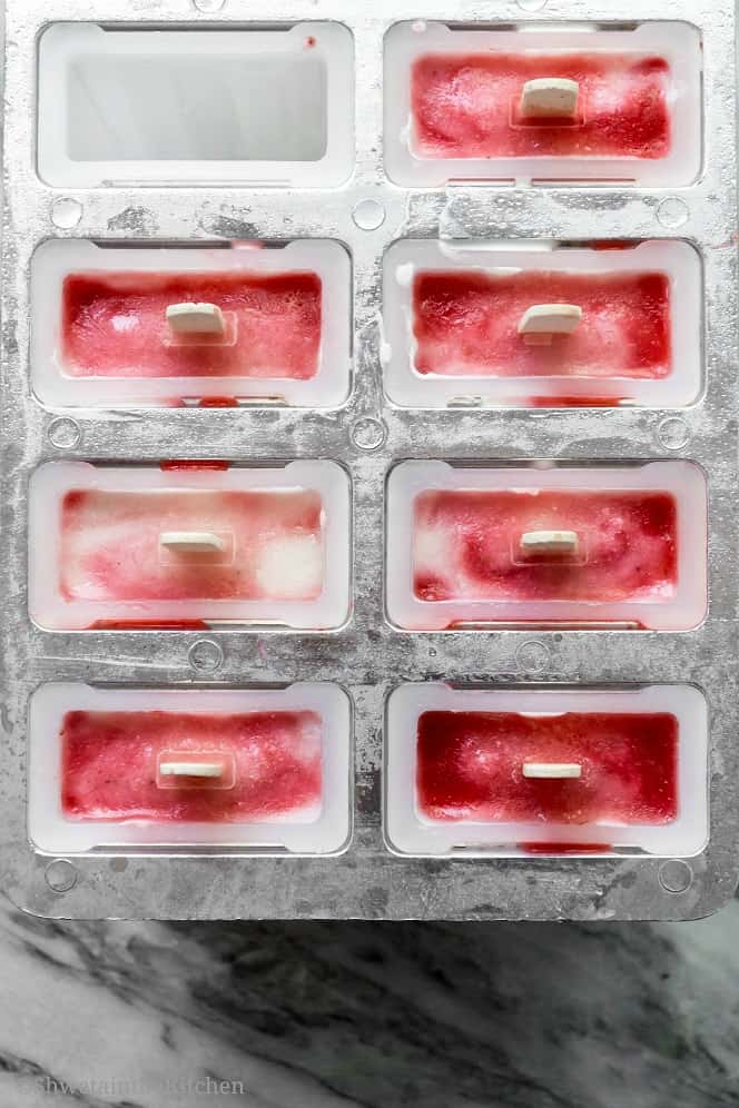 Top down shot of popsicles in a mold