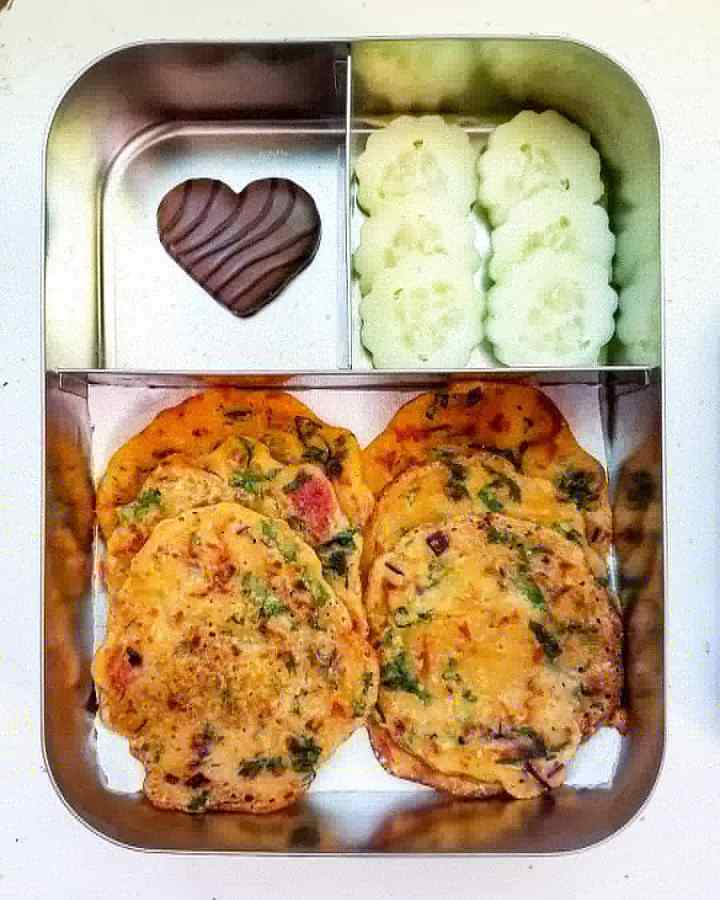 Savory pancakes (dosa)  Cucumber flowers and Heart shaped belgian cookies
