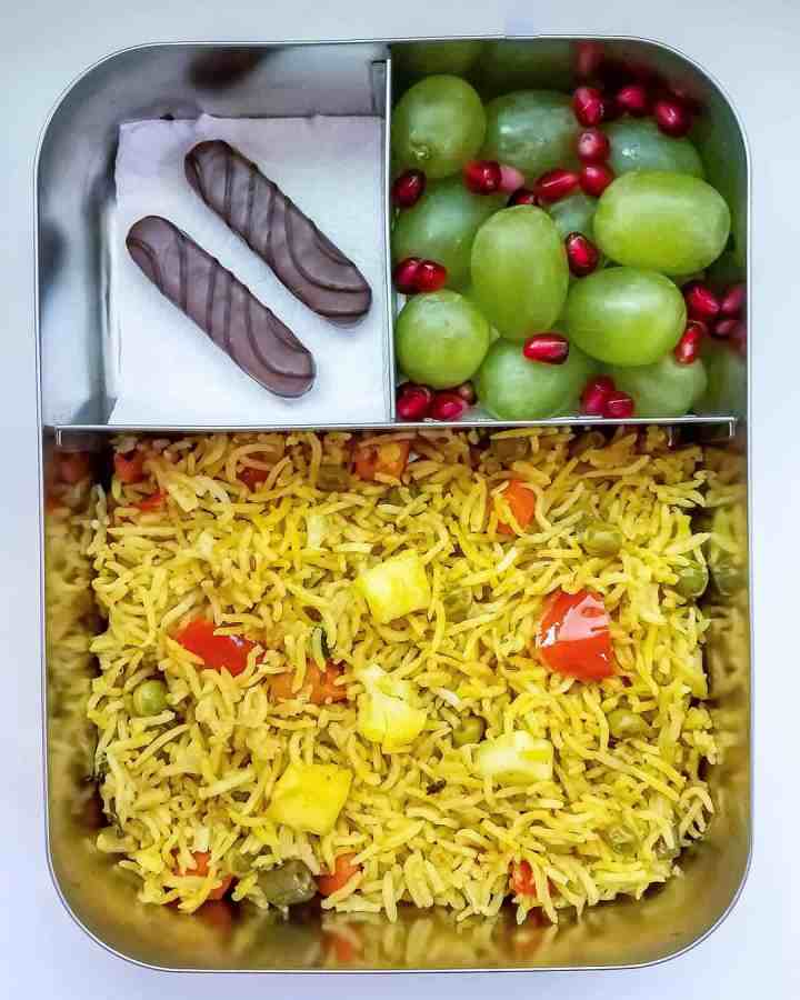 Mix Veg Pulav, Grapes and pomegranate, cookies as sweet treat