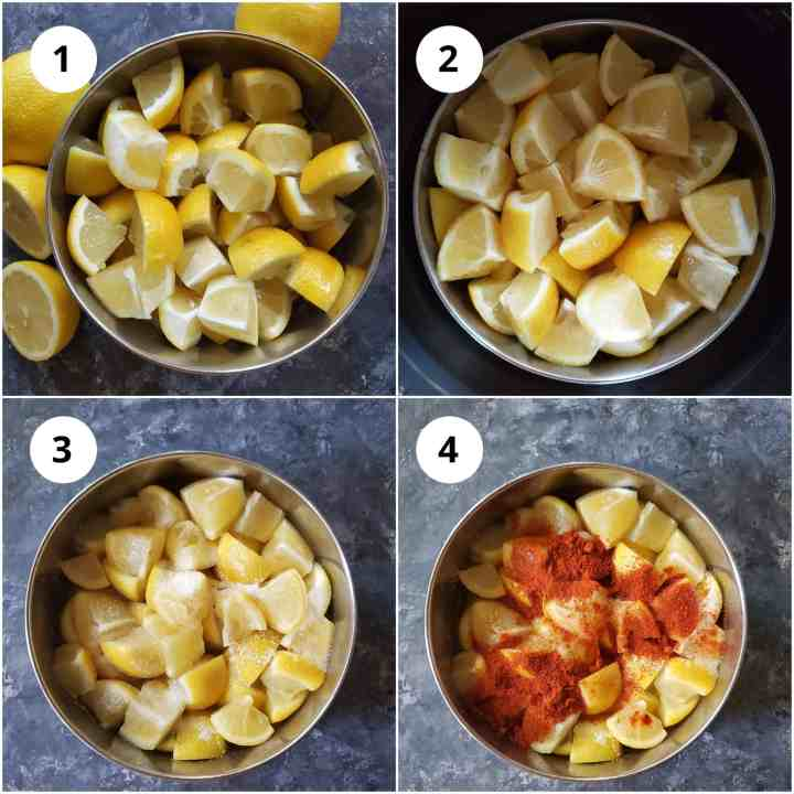Step by Steps pics of making Instant Lemon pickle in electric pressure cooker