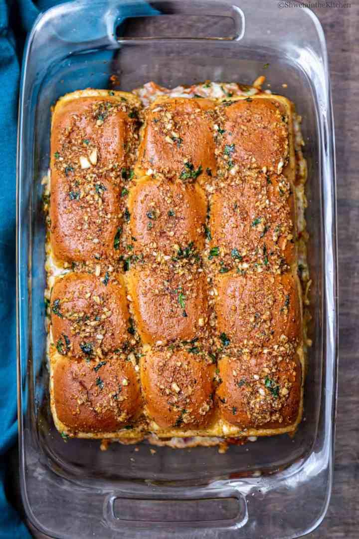 Cheesy Garlic Masala Pav Sliders