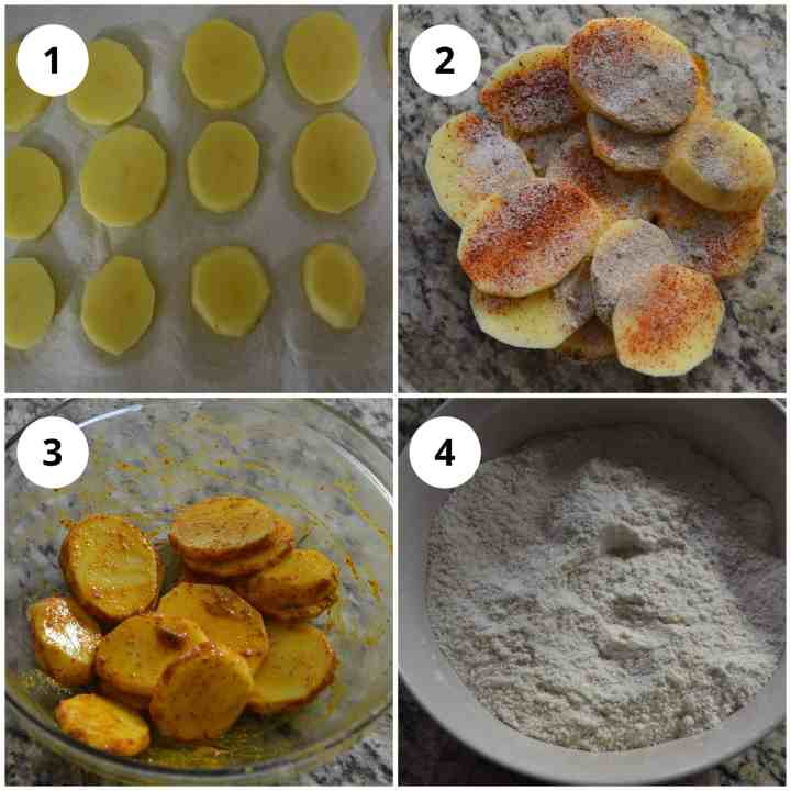 Four photos to show slicing of the potato chips and coating them in spices