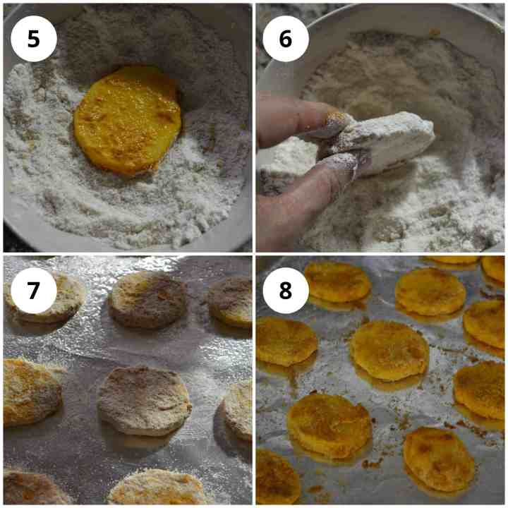 Coating the potato chips in the flour and baking them