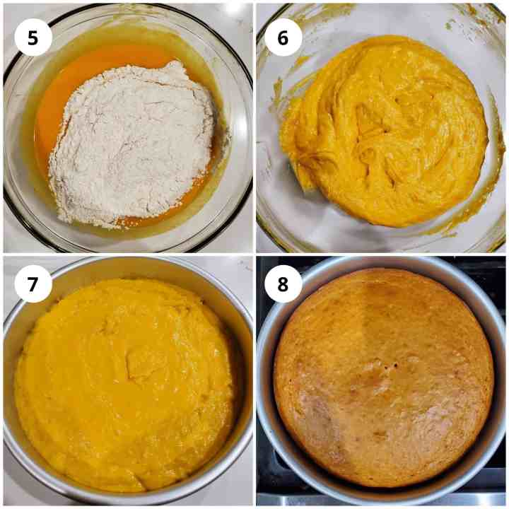 Step 2 is to add dry ingredients to wet batter, mix well and bake.