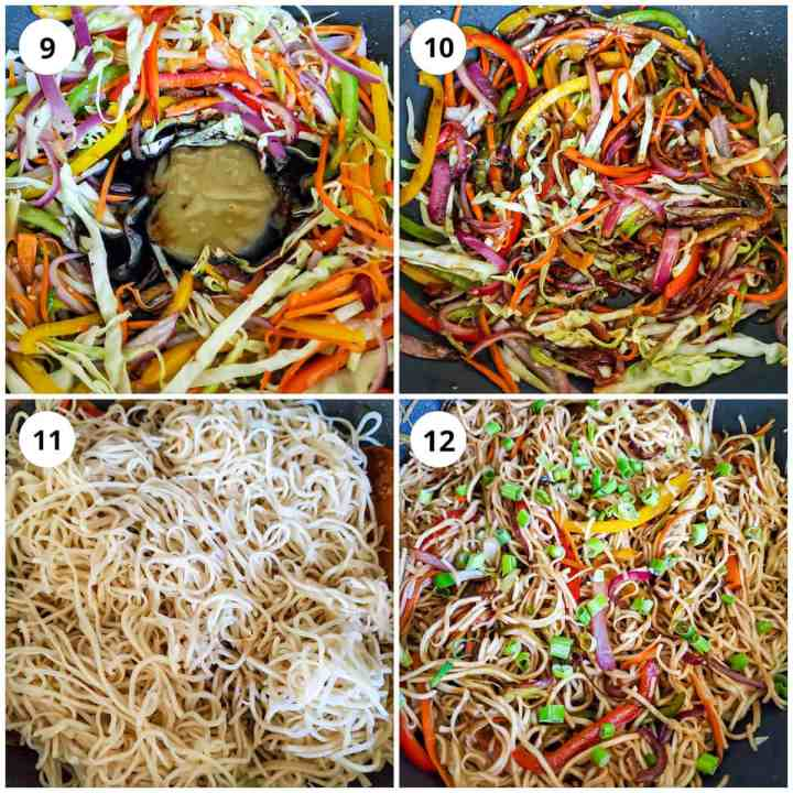 Step wise pic for making hakka noodles, adding veggies, sauces and garnished with green onions.
