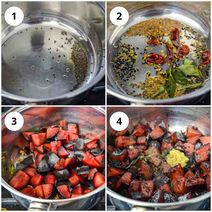 Photos to show heating the spices and start cooking the plums