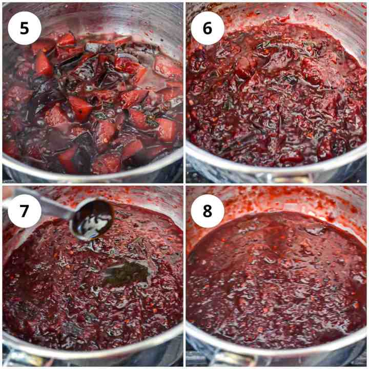 Four photos showing the plum chutney cooks and thickens