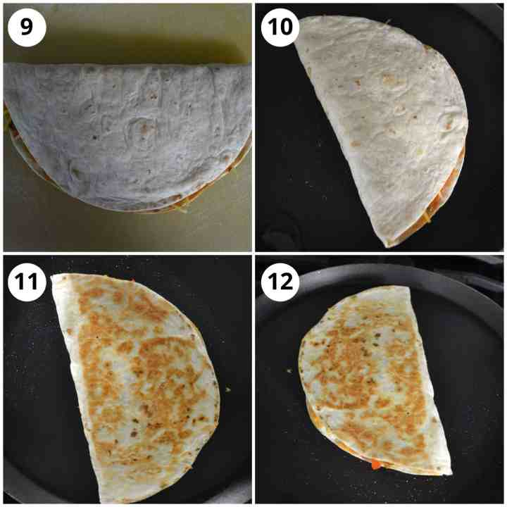 Photos to show how to fold and cook the quesadillas