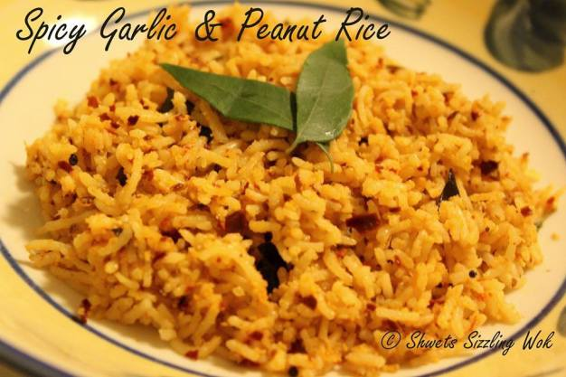 Spicy garlic and peanut rice