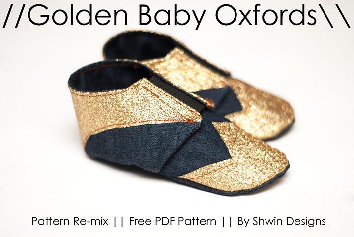 Gold Baby Oxfords || Free PDF Pattern